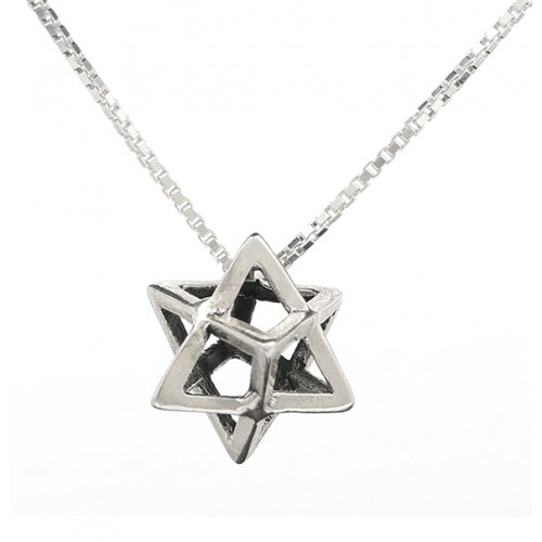Merkaba Charm Necklace 3D Sacred Geometry Star Tetrahedron in Sterling Silver