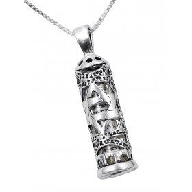 Mezuzah necklace mezuzah pendants ajudaica ajudaica mezuzah necklace pendant in sterling silver with cut out star of david aloadofball Images
