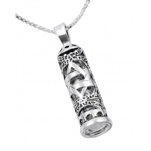 Mezuzah Necklace Pendant in Sterling Silver with Cut Out Star of David