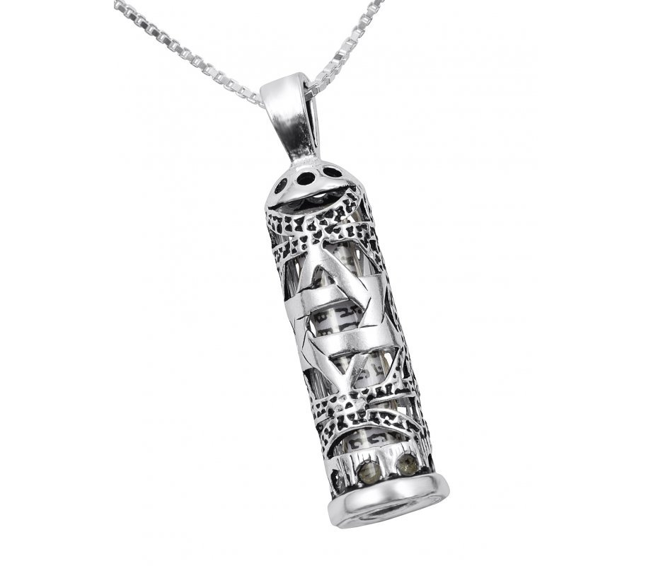 Mezuzah necklace pendant in sterling silver with cut out star of mezuzah necklace pendant in sterling silver with cut out star of david mozeypictures Gallery