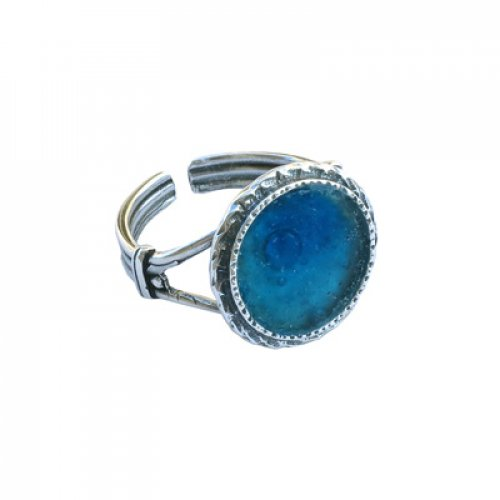 Michal Kirat Adjustable Ring with Circular Roman Glass and Sterling Silver Frame