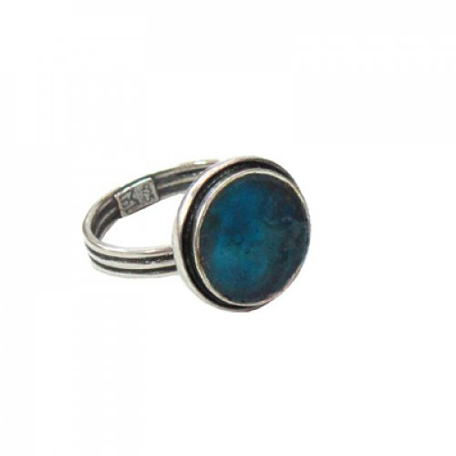 Michal Kirat Adjustable Ring with Circular Roman Glass in Double Silver Frame