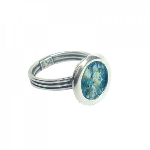Michal Kirat Adjustable Ring with Circular Roman Glass in Smooth Silver Frame