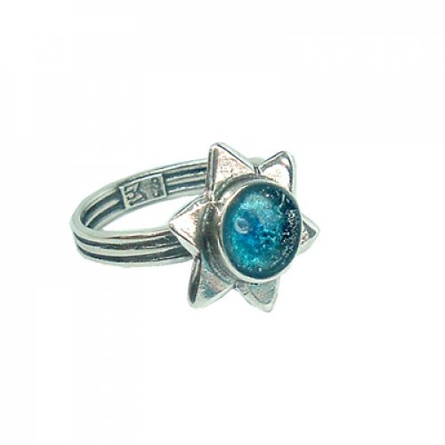 Michal Kirat Adjustable Ring with Round Roman Glass in Center of Sterling Silver Star of David