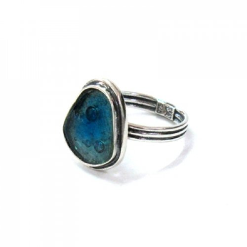 Michal Kirat Adjustable Ring with Shield Shape Roman Glass in Silver Frame