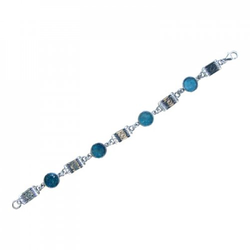 Michal Kirat Bracelet with Circular Roman Glass Pieces and Engraved Silver Links