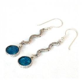53204fbb7 Michal Kirat Dangle Earrings with Roman Glass Silver Swirls - Galilee Bridge