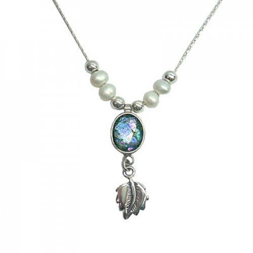Michal Kirat Freshwater Pearls on Silver Chain with Roman Glass Pendant and Decorative Leaf