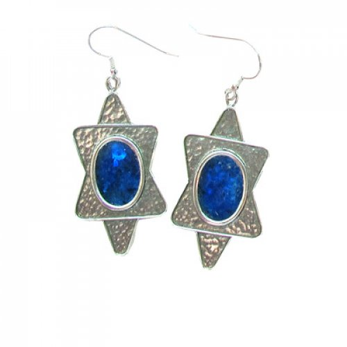 Michal Kirat Hammered Silver Star of David Drop Earrings with Oval Roman Glass