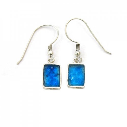 Michal Kirat Rectangle Roman Glass Drop Earring with Sterling Silver Frame