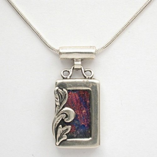 Michal Kirat Silver Necklace and Roman Glass Pendant with Leaf Decoration