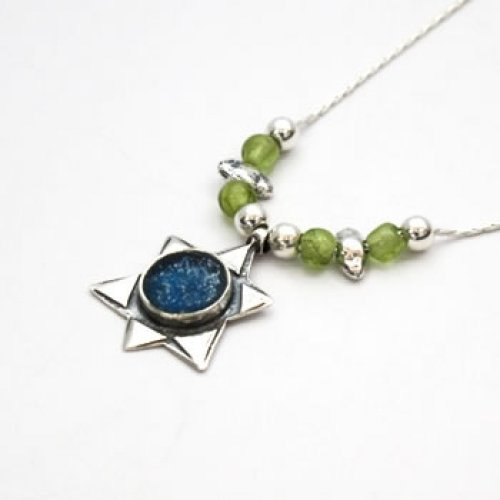 Michal Kirat Star of David Roman Glass Silver Necklace - Peridot Beads