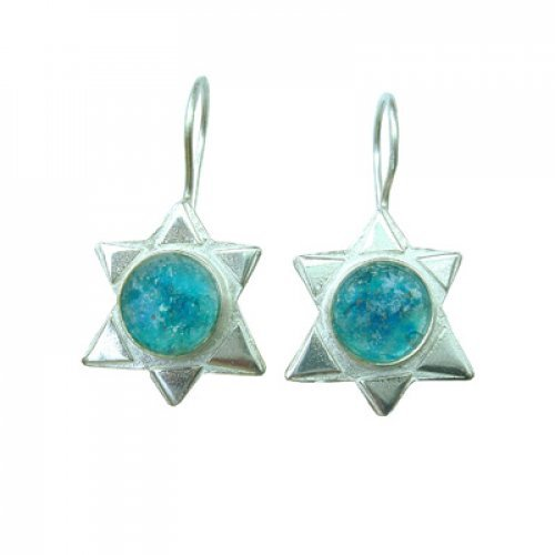 Michal Kirat Sterling Silver Star of David Drop Earrings with Roman Glass Center