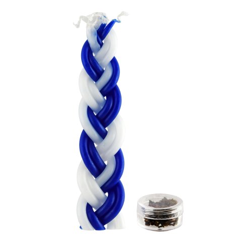 Mini Blue and White Havdalah Candle with Besamim Spices