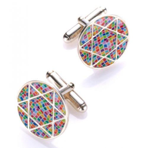 Mosaic design Star of David Cufflinks