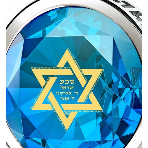 Nano Jewelry Silver Star of David Pendant with Shema Yisrael - Blue
