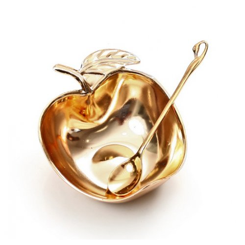 Nickel Open Apple Honey Dish with Spoon - Gold
