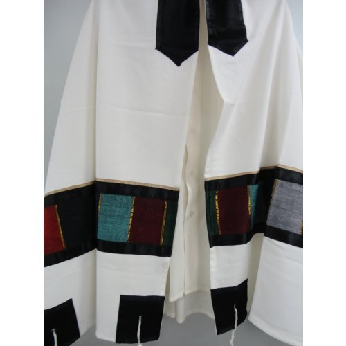 Off White Tallit Set with Colored Panels by Galilee Silk