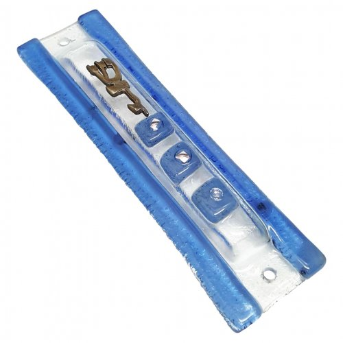 Opaque Glass Mezuzah Case with Blue Frame - Decorative Shin Daled Yud