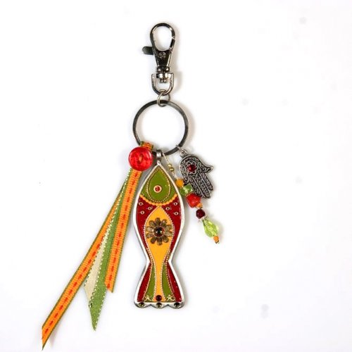 Orange and Red Fish Keychain by Ester Shahaf