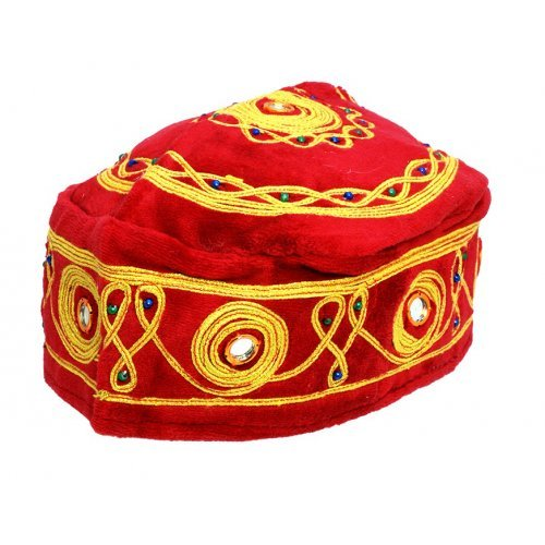 Pack of 3 Velvet and Gold Bucharian Kippah - Assorted Colors