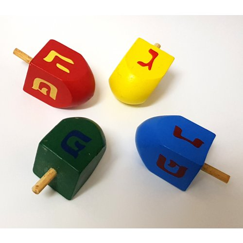 Package of Four Colorful Wood Dreidels with letters