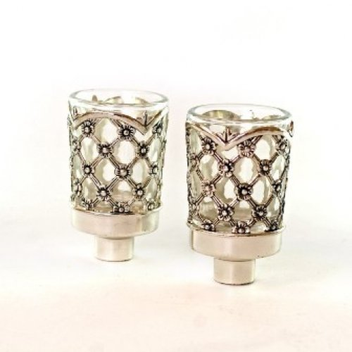 Pair of Glass Oil/Candle Inserts with Silver Plated Lattice Design