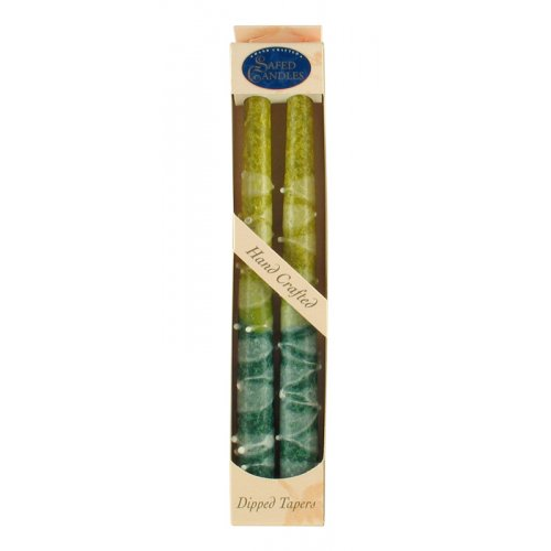 Pair of Kosher Safed Candle Tapers - Green-Yellow