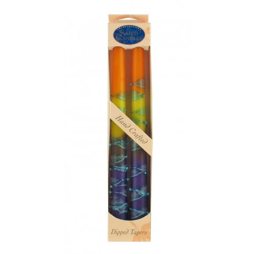 Pair of Kosher Safed Candle Tapers - Purple-Yellow-Orange