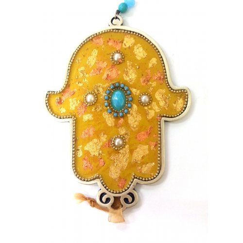 Pewter Hamsa with Gold Leaf Design and Turquoise Center
