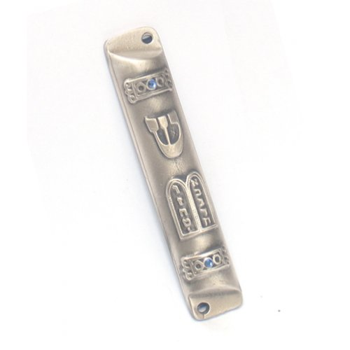 Pewter Plated Rounded Mezuzah Case - Ten Commandments Tablet with Blue Stones