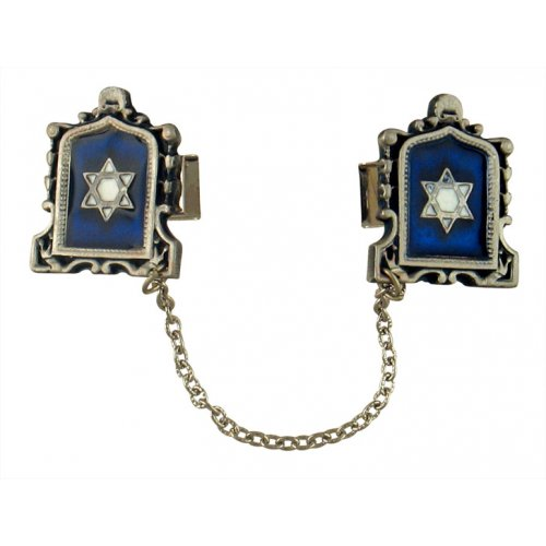 Pewter Tallit Prayer Shawl Clips – Star of David on Blue Enamel in Tablet Frame