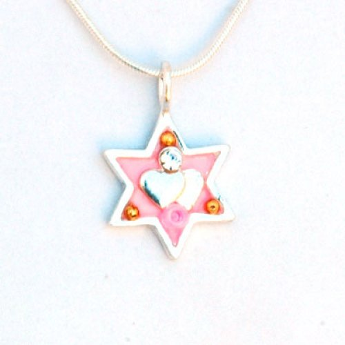 Pink Heart Star of David Necklace by Ester Shahaf