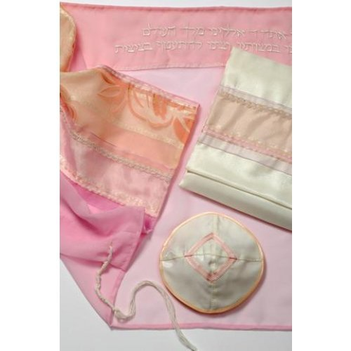 Pink Polyester Tallit by Galilee Silks