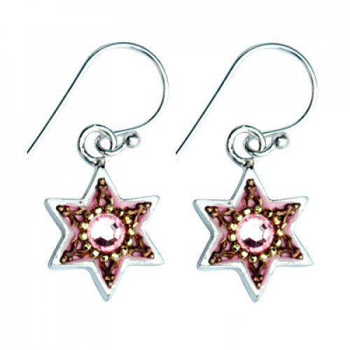 Pink-Gold Sterling Silver Earrings by Ester Shahaf