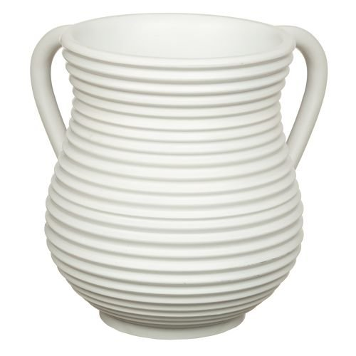 Polyresin Netilat Yadayim Wash Cup, Narrow Circular Stripes - White