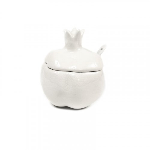 Pomegranate Shaped Ceramic Honey Dish with Lid and Spoon - White