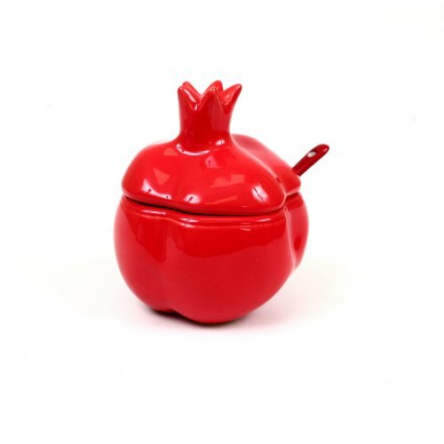 Pomegranate Shaped Red Ceramic Honey Dish with Lid and Spoon