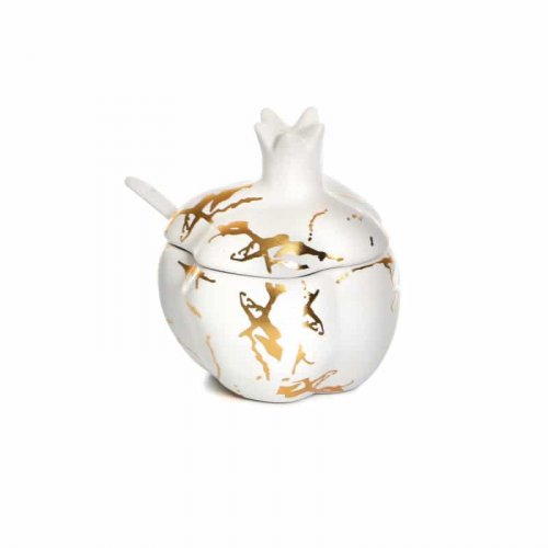 Pomegranate Shaped White-Gold Ceramic Honey Dish with Lid and Spoon