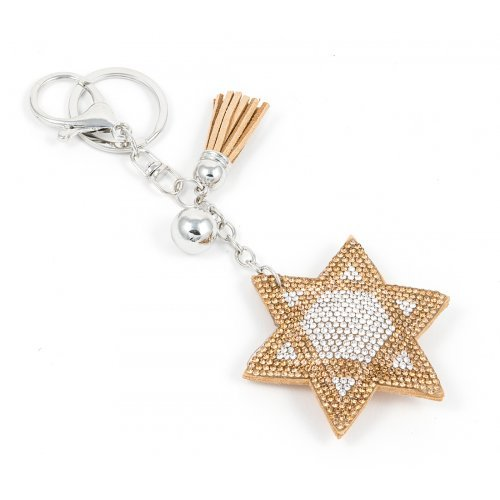 Puffy Felt Keychain with Tassel - Gold Star of David
