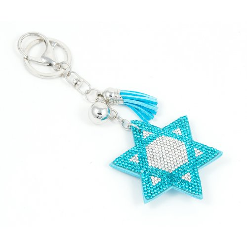 Puffy Felt Keychain with Tassel - Light Blue Star of David