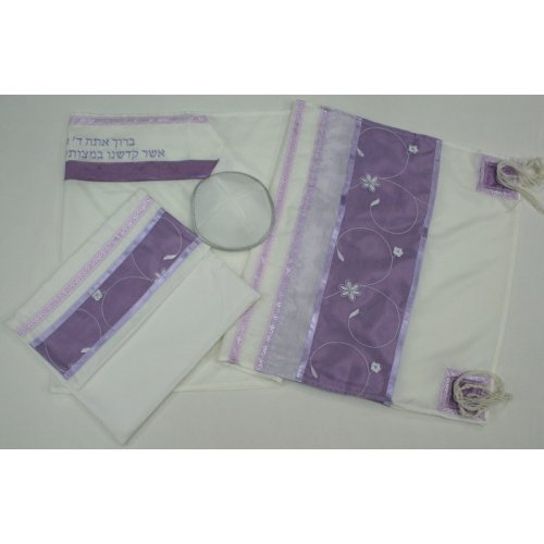 Purple Flower Tallit Set by Ronit Gur