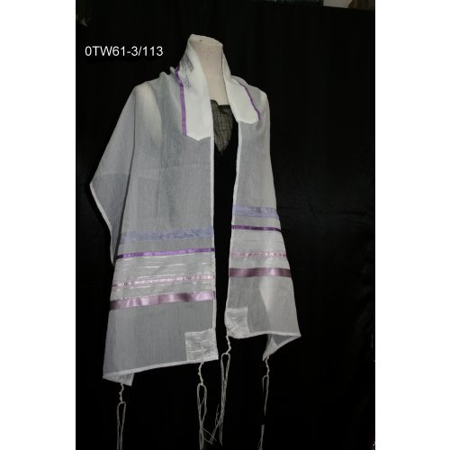 Purple and Pink Stripe Tallit Set by Ronit Gur