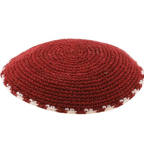 Red DMC Knitted Kippah with White and Red Border