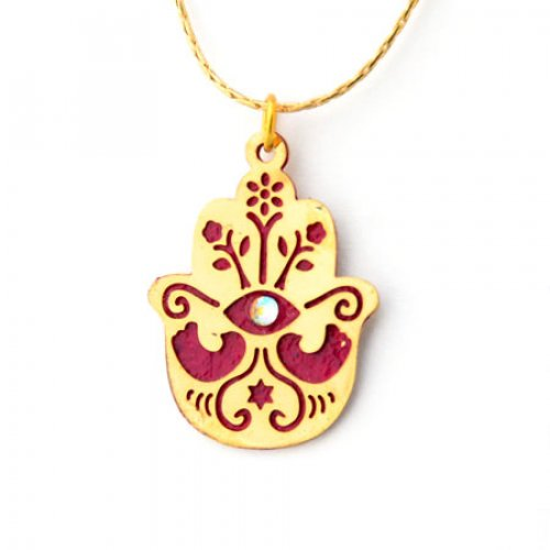 Red Hamsa Necklace to Ward off the Evil Eye by Ester Shahaf