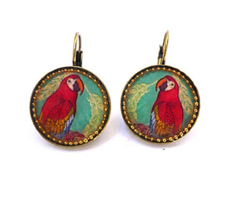 Red Parrot Earrings By Iris Design