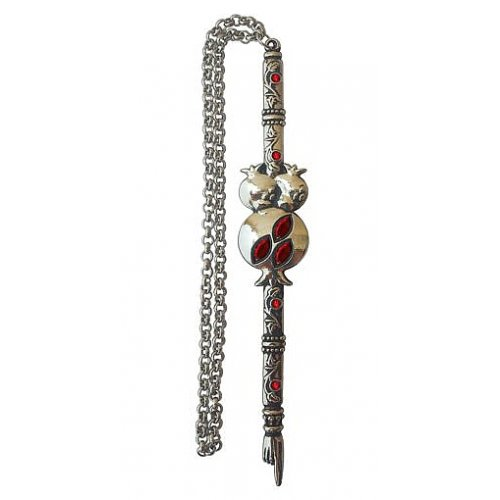 Red Stones Shema Pomegranate Yad Torah Pointer by Yealat Chen