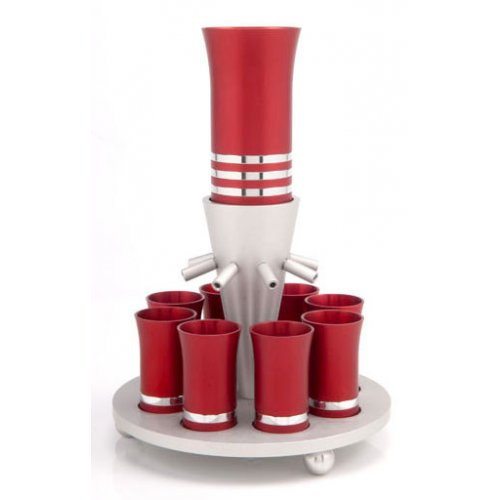 Red-Silver Anodized Aluminum Kiddush Fountain-Agayof