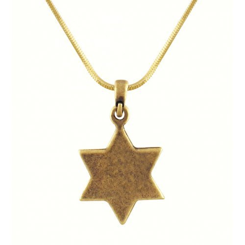Rhodium Antique Bronze Finish Star of David Jerusalem Necklace