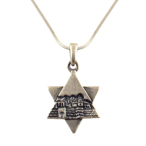 Rhodium Antique Finish Star of David Jerusalem Necklace